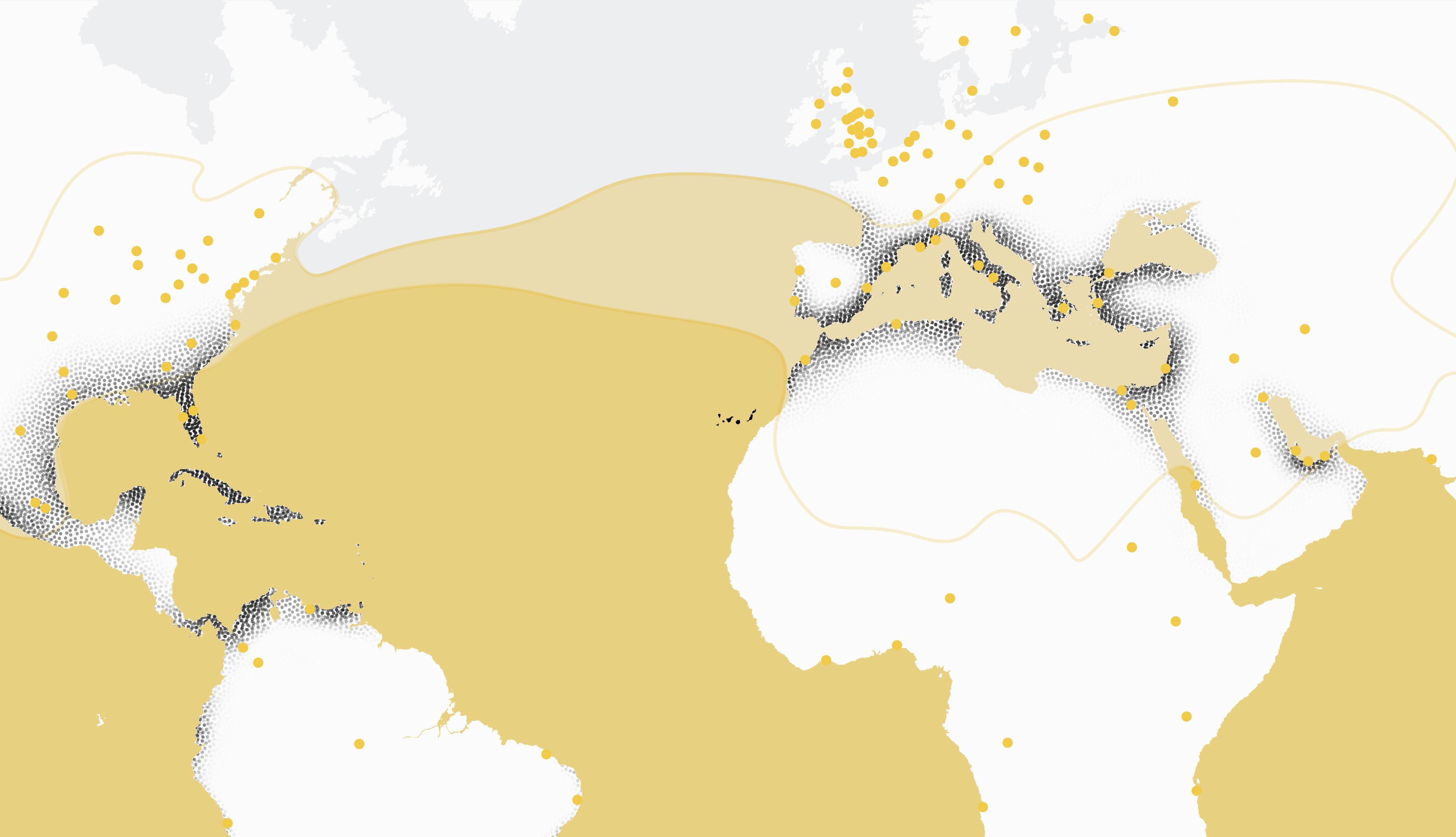 Distribución de las zonas con una temperatura superior a 20º centígrados en relación con las ciudades con una renta per cápita superior, así como las zonas actualmente bajo procesos de periurbanización.