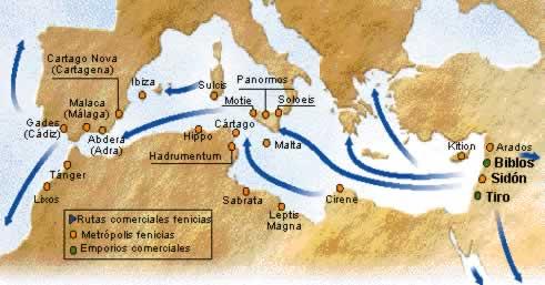Mapa que indica las rutas de retorno de los guanches desde Fenicia