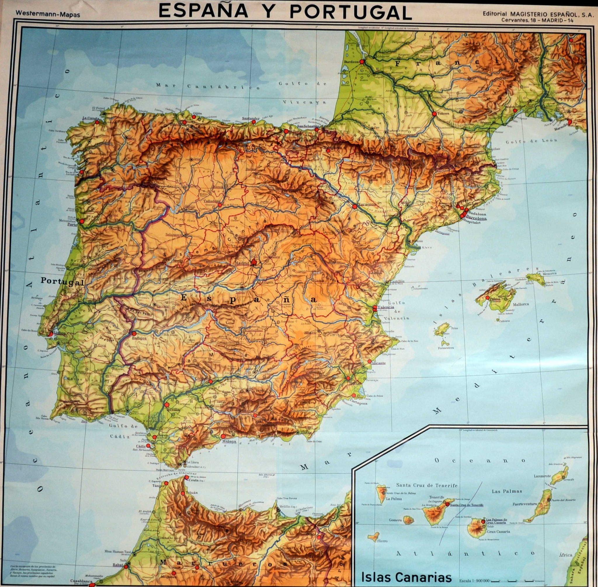 mapa-fisico-de-espana-portugal-y-las-islas-canarias-de-1966